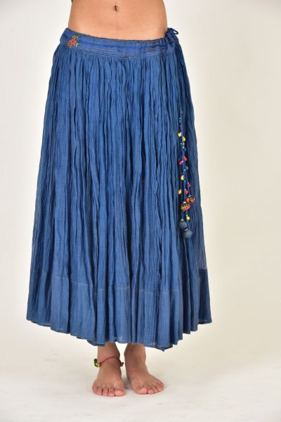 JWALA BLUE CHANDERI GATHERED SKIRT