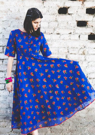 Khilla Blue Cotton Bias Dress