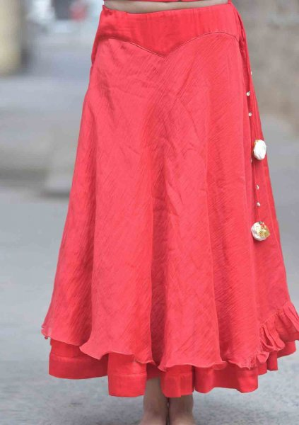 LAAL CHANDERI COTTON SKIRT