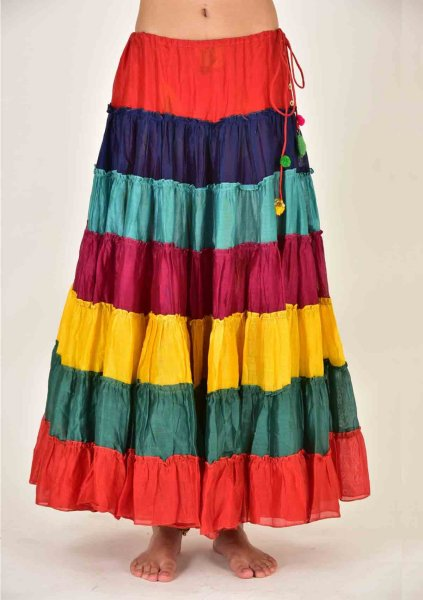 SONA MULTICOLOR CHANDERI RUFFLE SKIRT