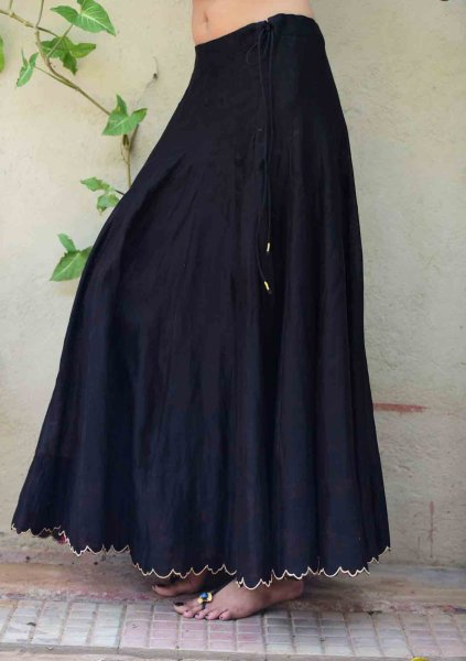 Surma Black Flared Chanderi Skirt