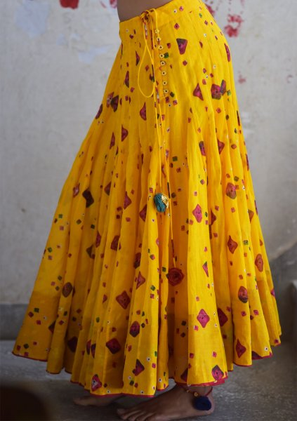 Suraji Yellow Bandni Skirt