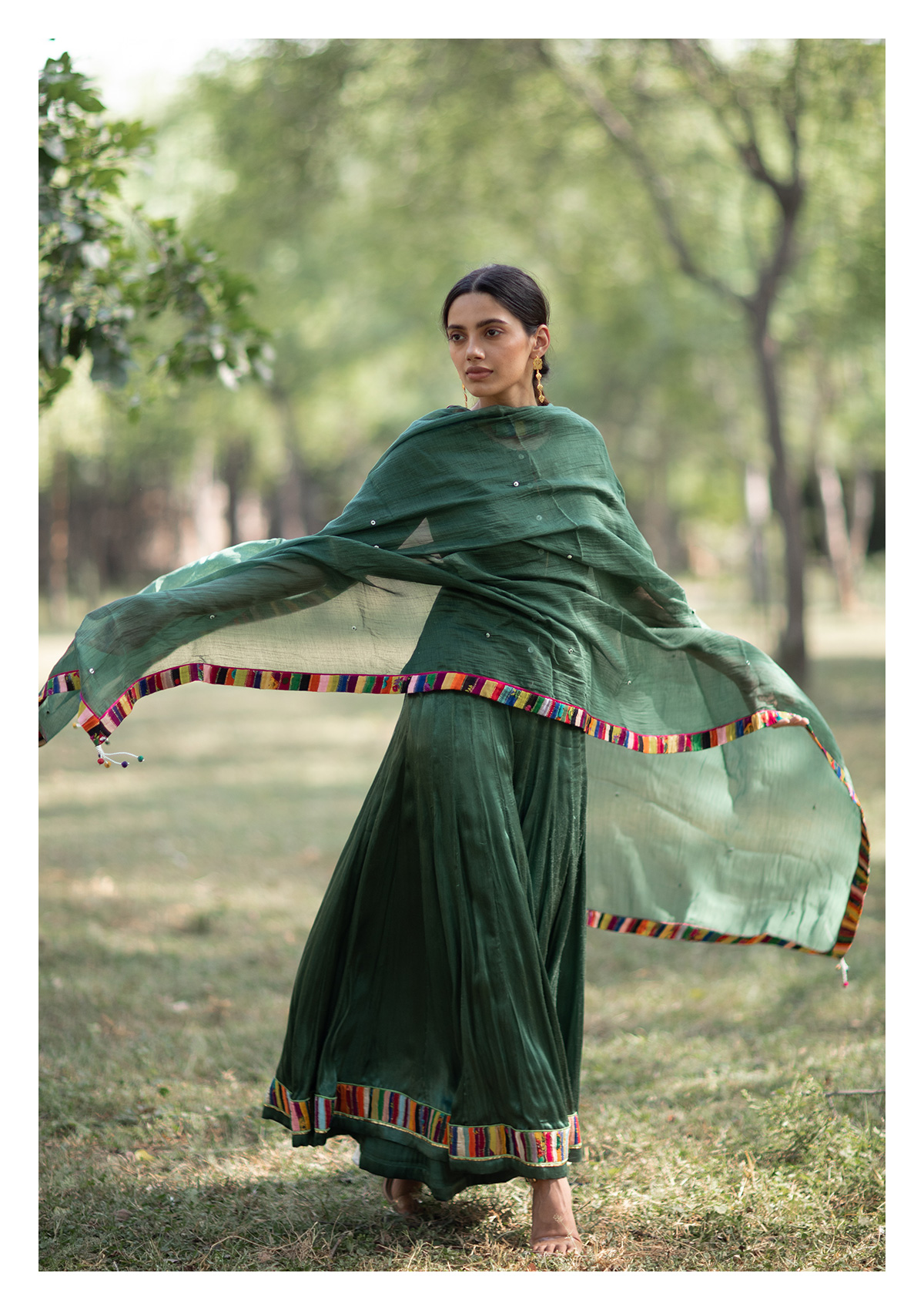 Khulma Green Blouse Sharara & Dupatta Set