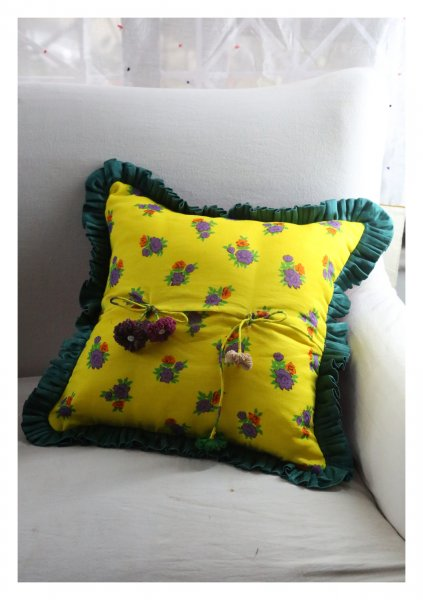 Atha Yellow Mashru Silk Cushion Cover