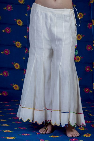 Chaman Off white Scalloped Chanderi Sharara