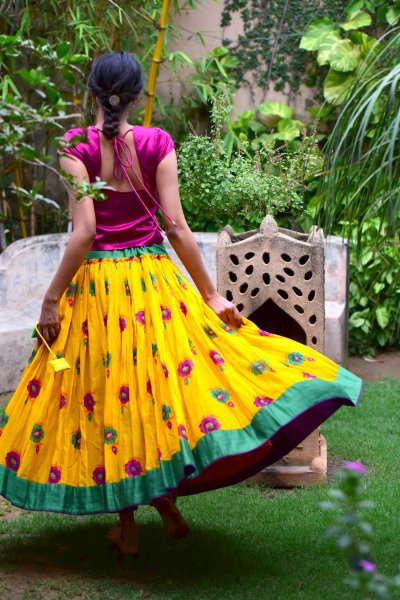 Chanda Yellow Flower Print Gathered Cotton Skirt