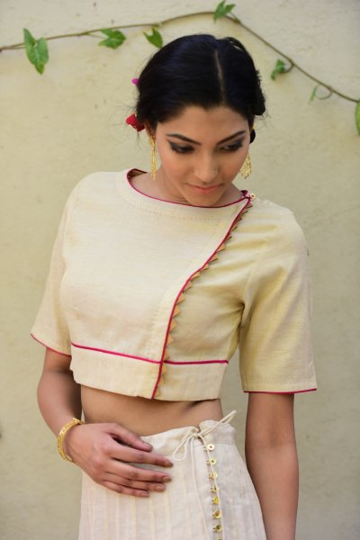 Chandni Gold Chanderi Crop Top