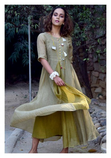 Chara Green Cotton Chanderi Dress