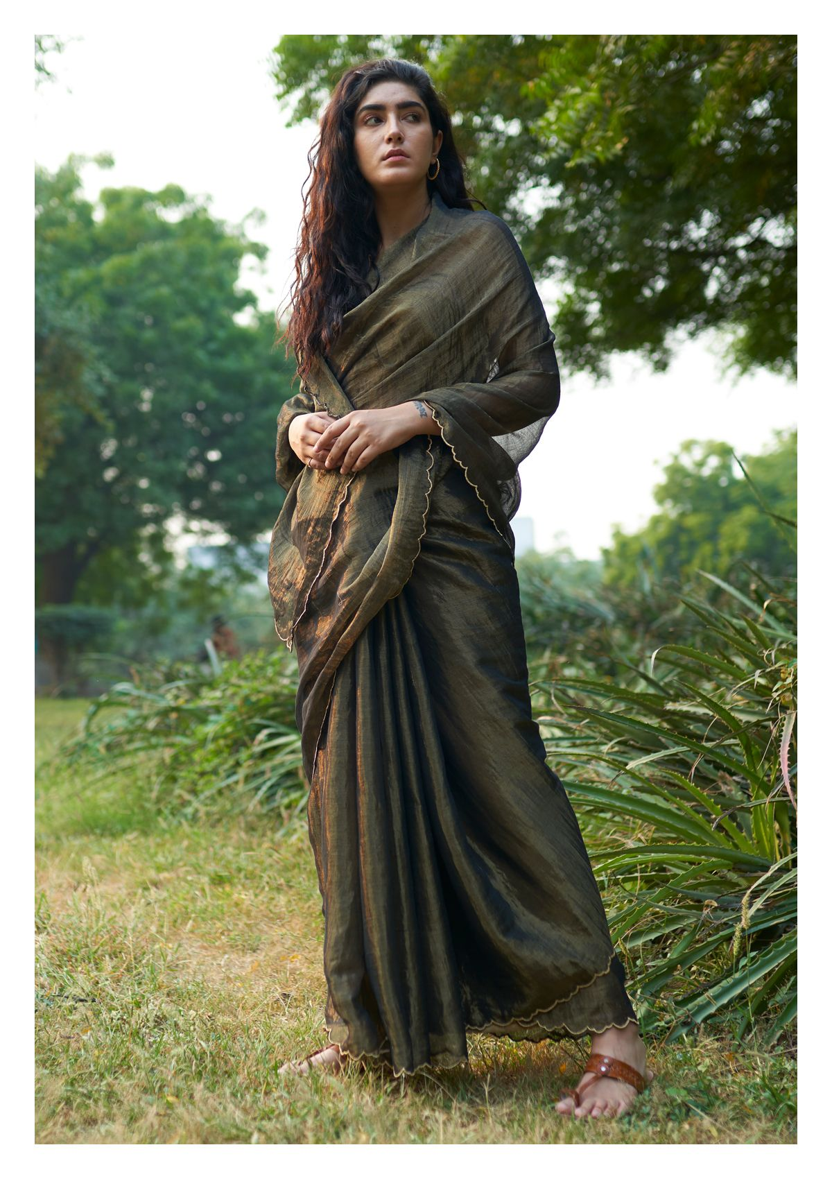 Midnight Charcoal Tissue Chanderi Saree
