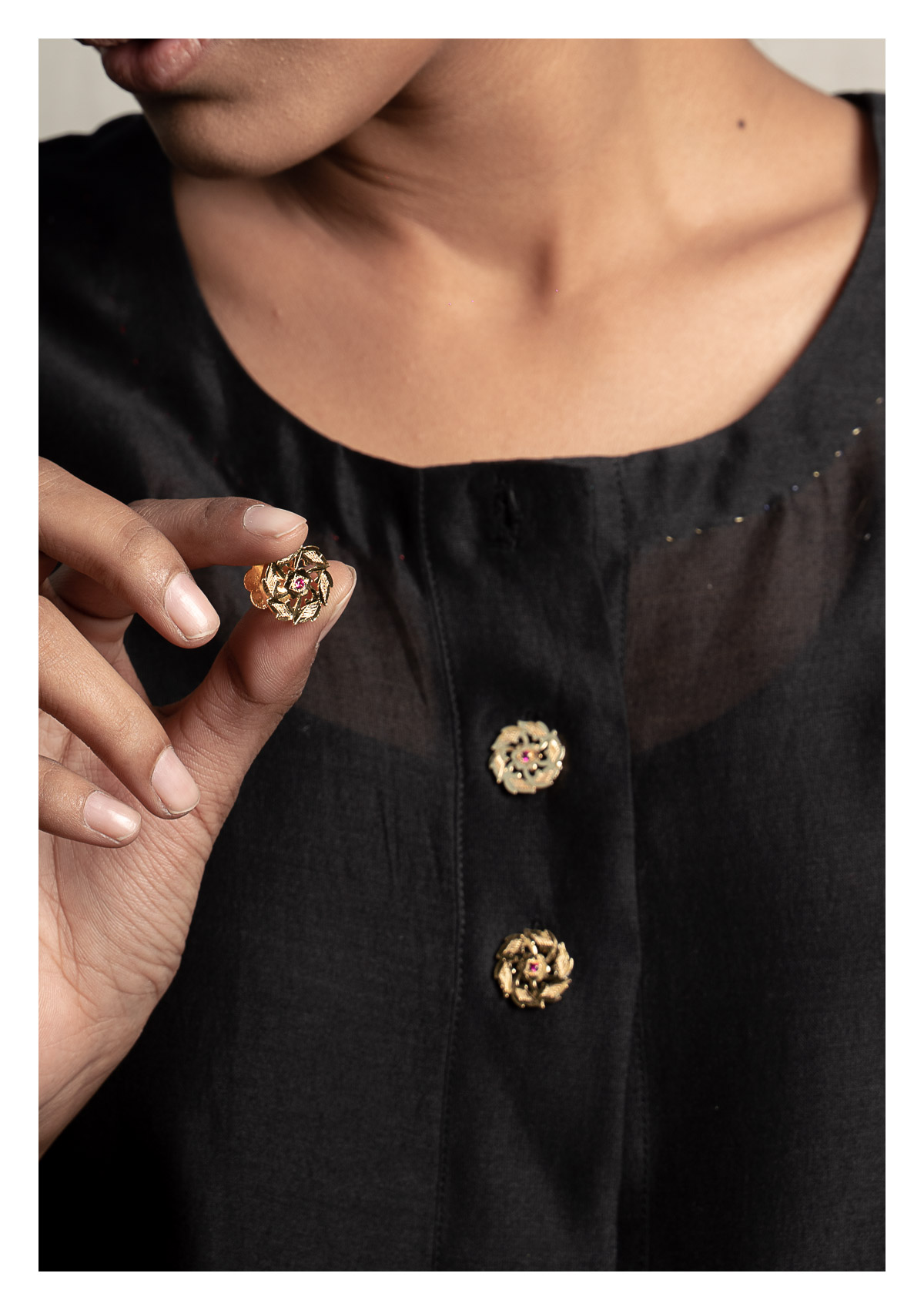 Chellam Gold Tone Silver Buttons