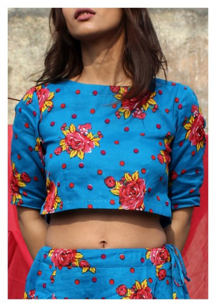Chenabi Turquoise Cotton Crop Top