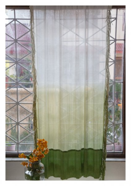 Mrigha Green Sheer Curtain