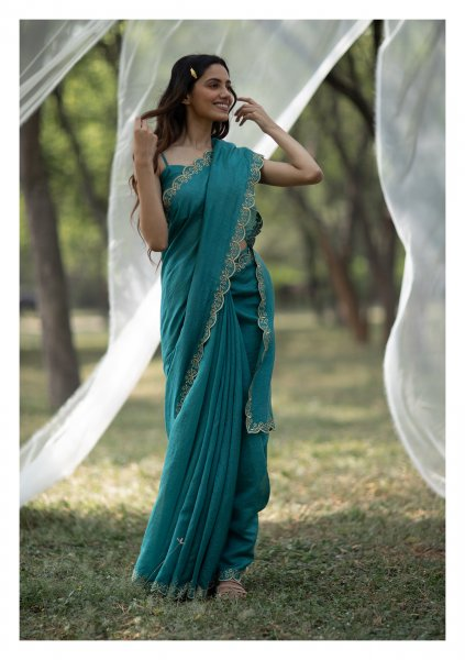 Khwabi Teal Tissue Chanderi Saree