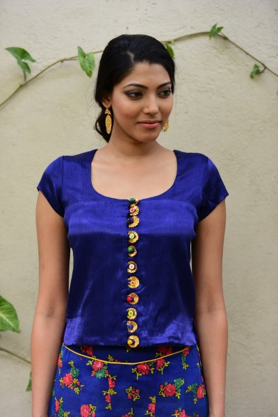 Daali Blue Mashru Crop Top