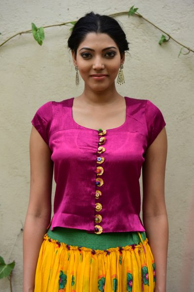 Daali Purple Reversible Mashru Crop Top