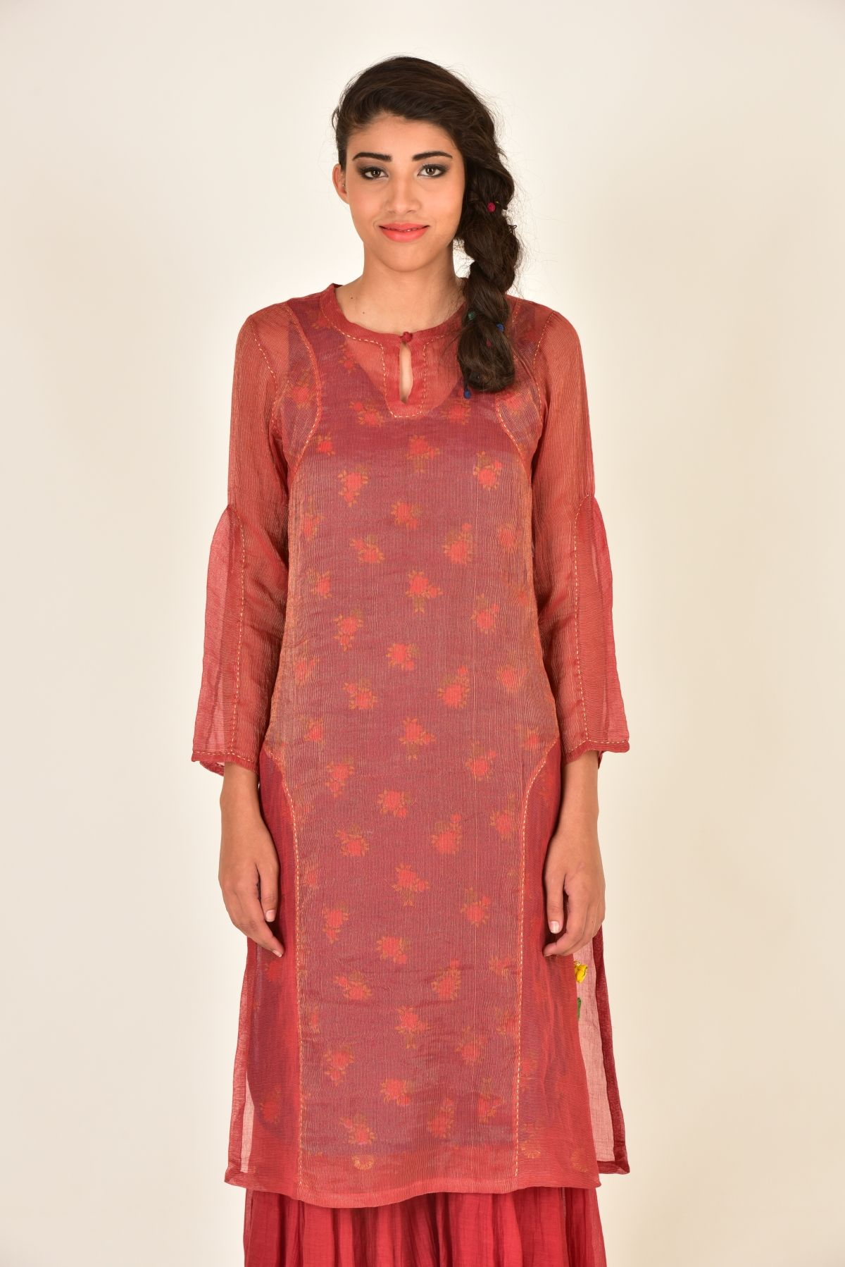 DAASI MEHROON CHANDERI LONG KURTA