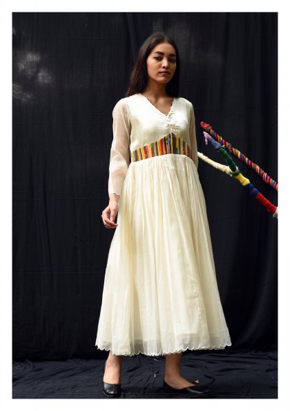 Nasiba Cream Mashru Silk Dress