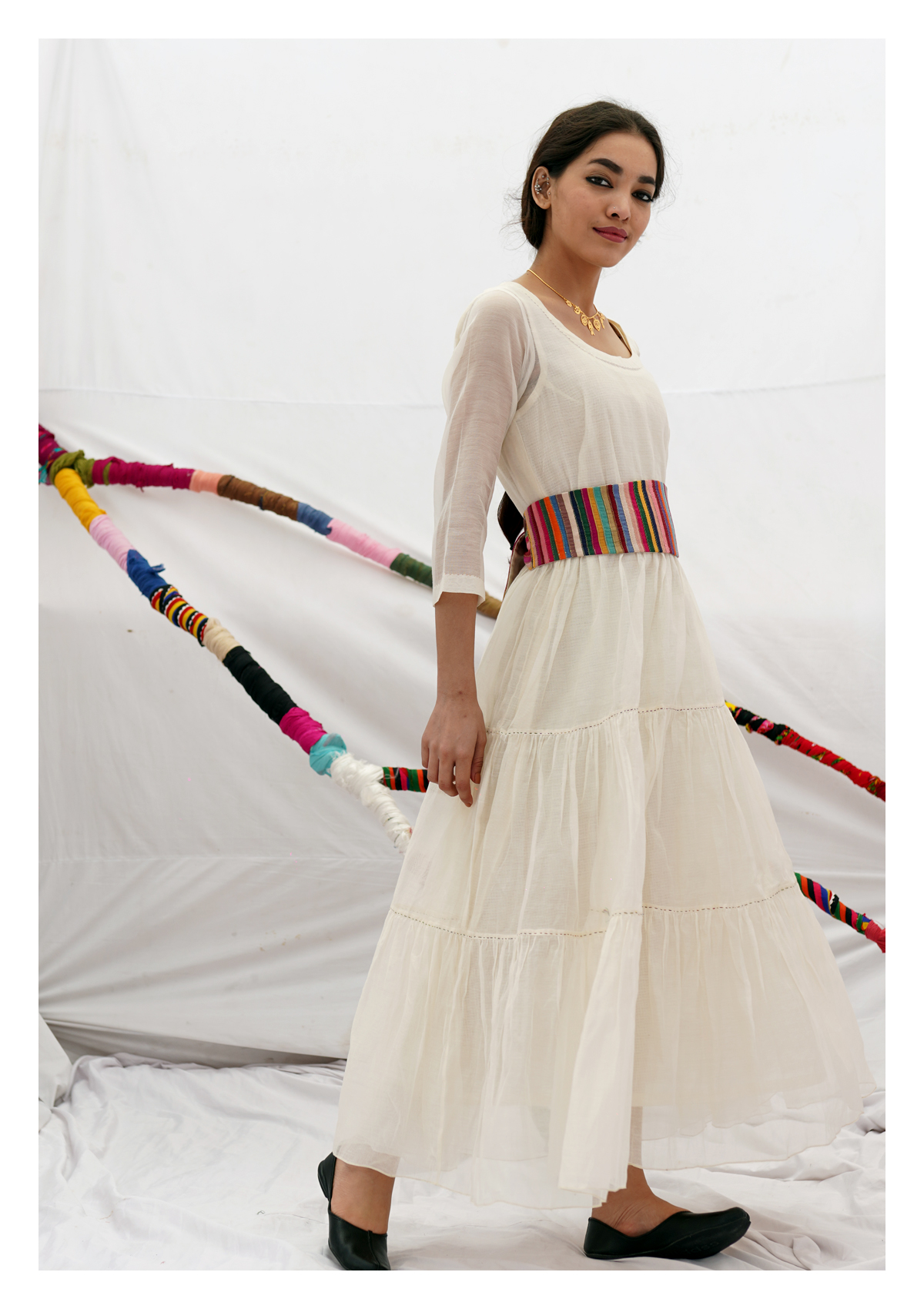 Sela Cream Chanderi Dress
