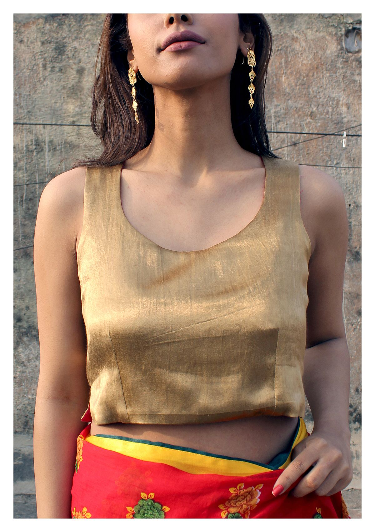 Dhara Reversible Mashru Crop top