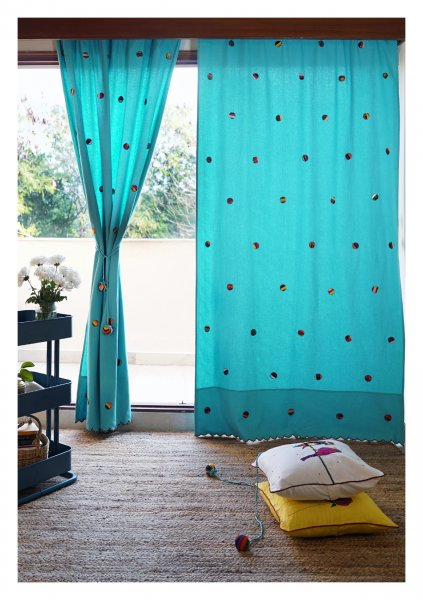 Cool Blue Hostas Canvas Curtains