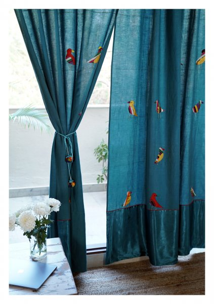 Cuckoos Teal Linen Curtain