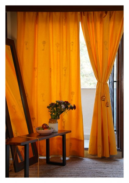 Balmy Mustard Canvas Curtain