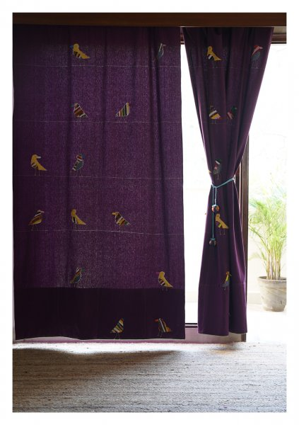 Indian Roller Purple canvas Curtain