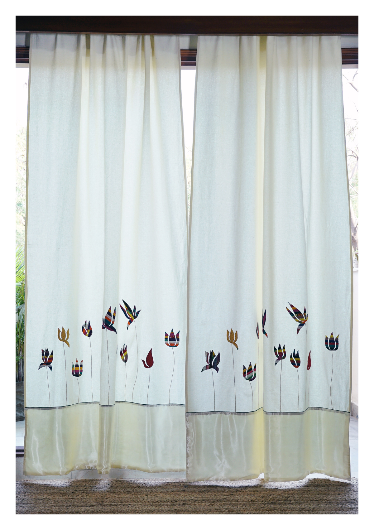 Sacred Lotus Creme Canvas Curtain