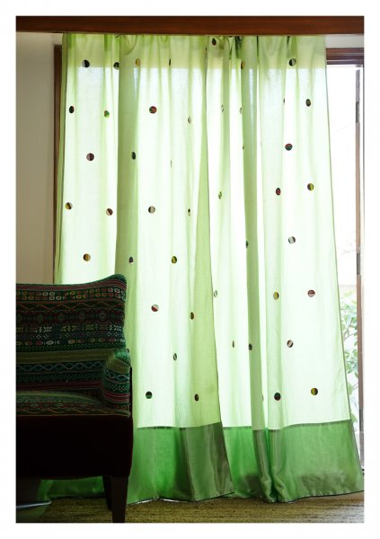 Starlight Green Linen Curtain