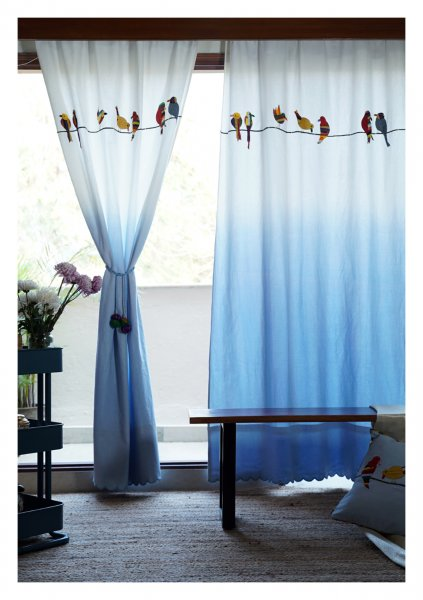 Pheasant Ombre Blue canvas Curtain