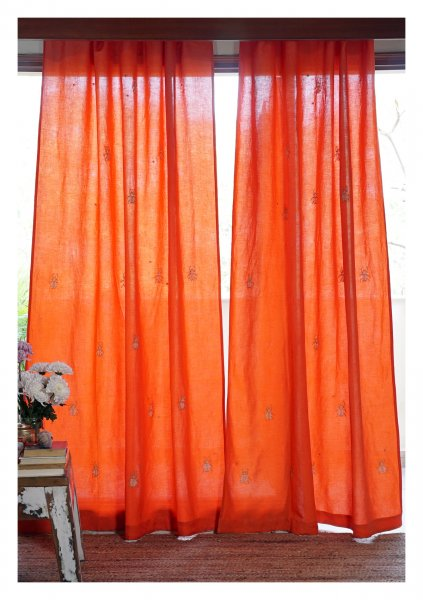 Beetles Orange Linen Curtain
