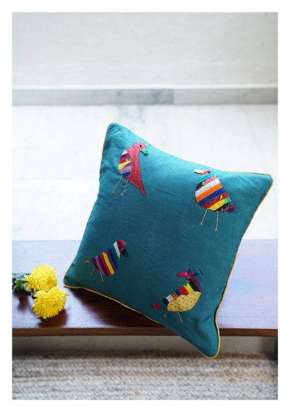 Loriini Teal Linen Cushion Cover