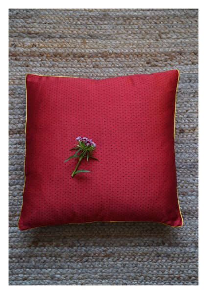 Zindafel Red Mashru Cushion Cover