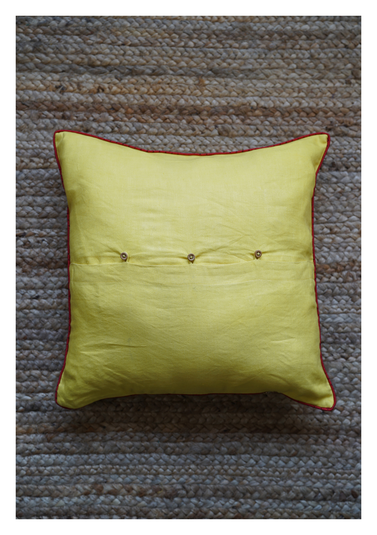 Queen Lotus Yellow Linen Cushion Cover