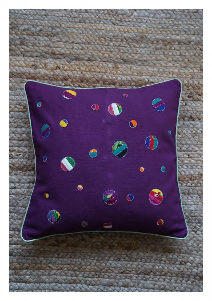 Galaxy Purple Canvas Cushion Cover