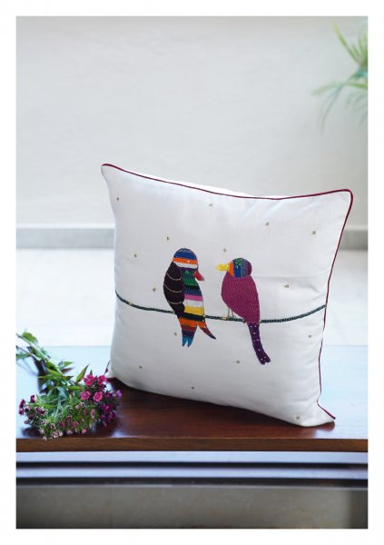 Lovebirds White Canvas Cushion Cover