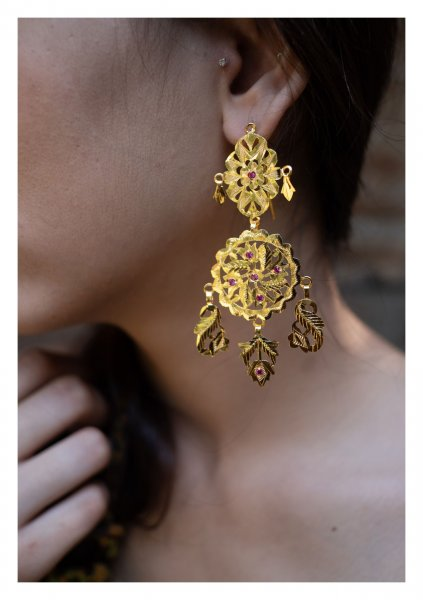 Farha Handmade Goldtone Silver Earrings