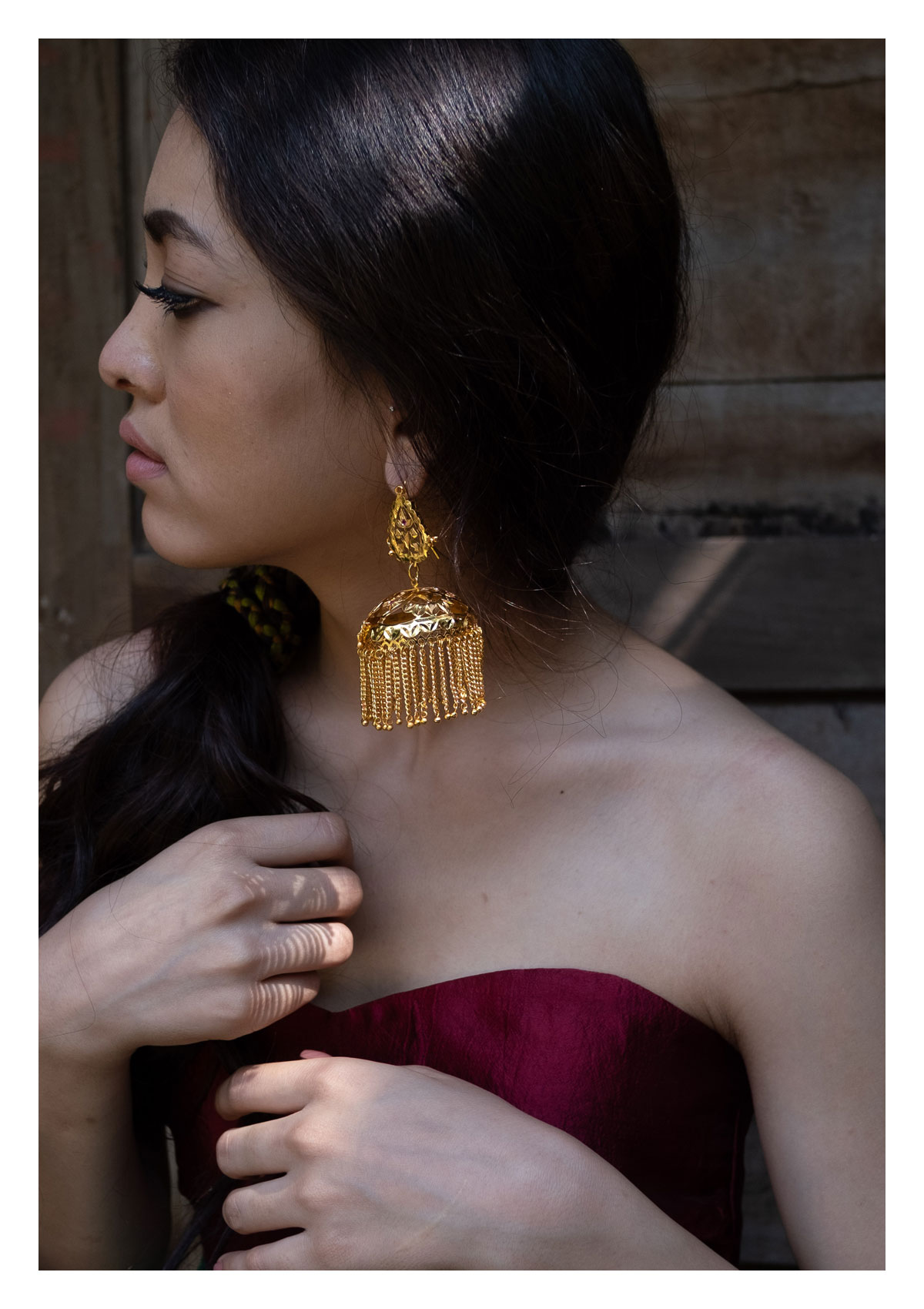 Zoya Handmade Gold tone Silver Earrings