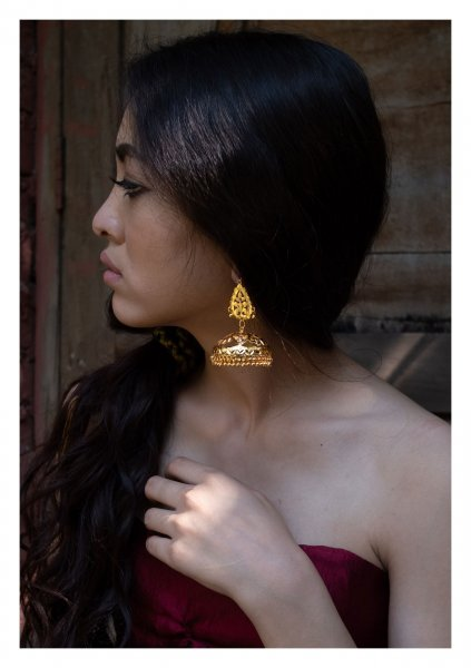 Jayanthi Handmade Goldtone Silver Earrings