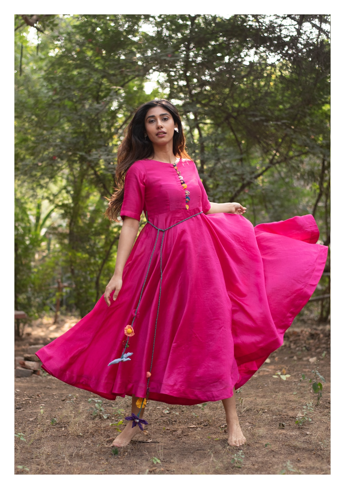 Khilla Hot Pink Chanderi Dress