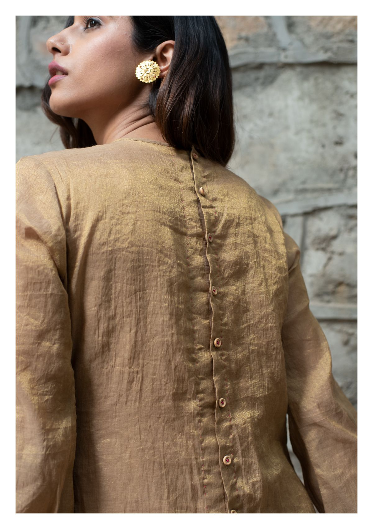 Dust and Rose Tissue Chanderi Kurta and Pants Set
