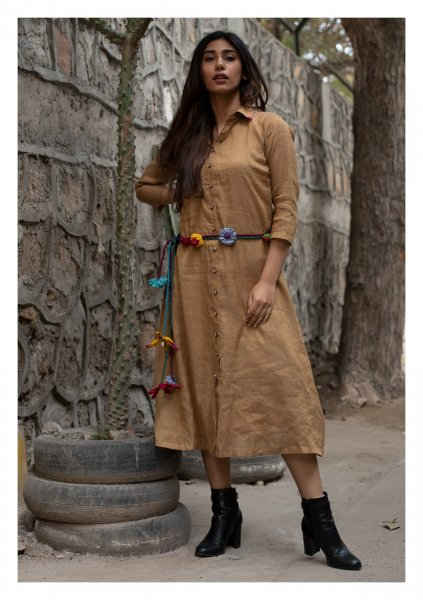 Sombre Earth Brown Chanderi Shirt Dress