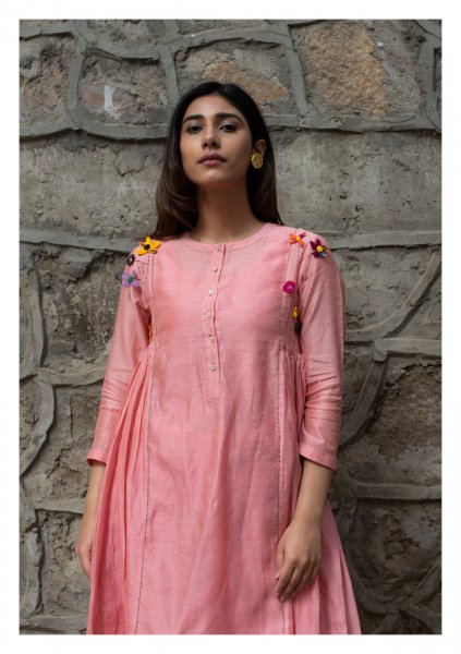 Peaches and Moon Tissue Chanderi Kurta Pants Set