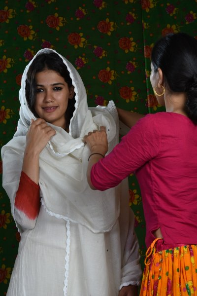 Dulari Off white Chanderi Crochet Dupatta