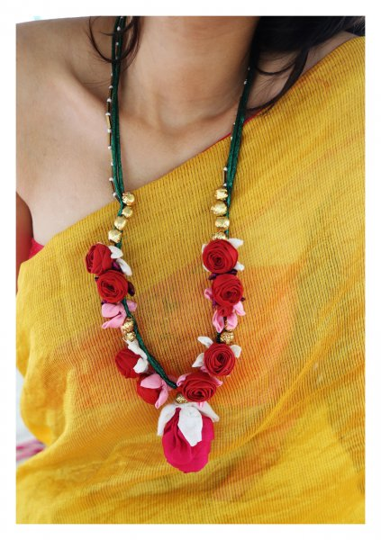 Machau Textile Rose Necklace
