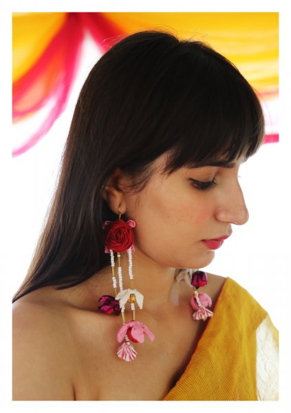 Habibah Textile Rose Earrings