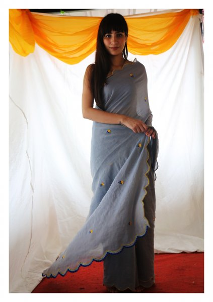 Babu Grey Tissue Chanderi Saree