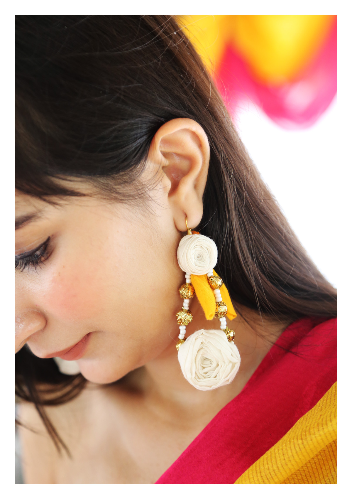 RA White Rose Textile Earrings