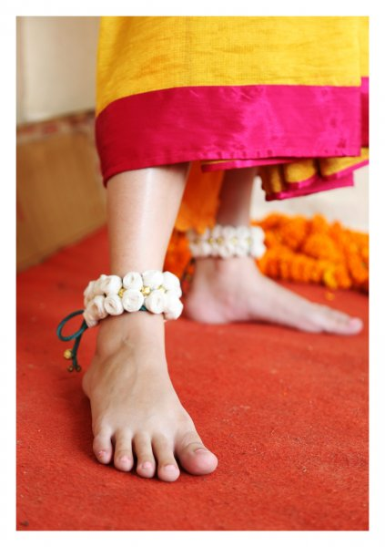 Horus White Rose Textile Anklets (set of 2)