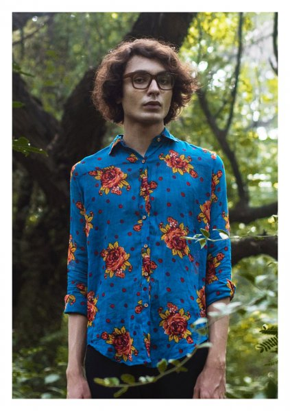 Starflower Blue Cotton Shirt